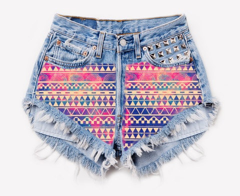 High waisted frayed studded aztec galaxy printed by summershere