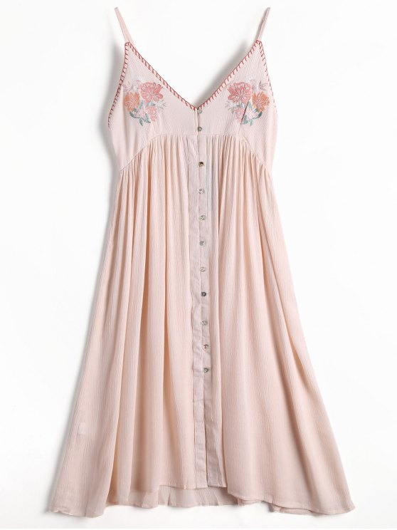 Floral Embroidered Button Up Slip Dress