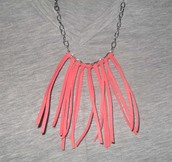 jewels,coral,fringes,necklace,silver,chain,hippie,boho