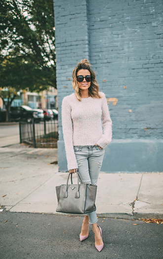 hello fashion blogger fuzzy sweater designer bag grey bag purse fall outfits ripped jeans nude sweater sunglasses blue jeans cropped jeans bag pointed toe pumps pumps pink pumps