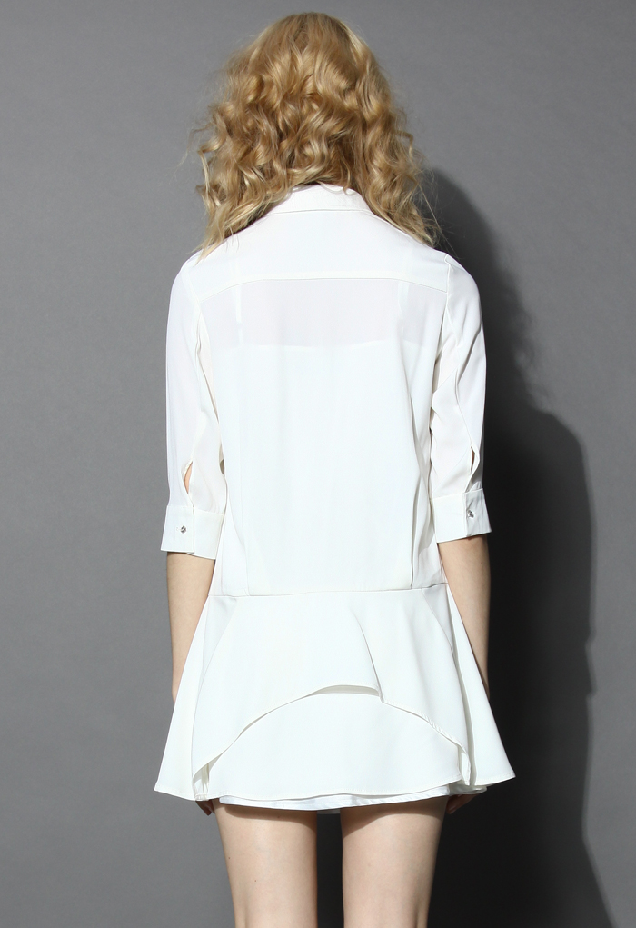Pretty Flare Mid-sleeve Shirt Dress - Retro, Indie and Unique Fashion