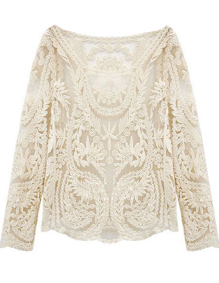 Beige Long Sleeve Hollow Crochet Lace Blouse - Sheinside.com