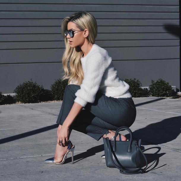 pants tumblr grey pants slingbacks high heels silver