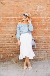 skirt,midi skirt,wrap skirt,ruffle hem skirt,off the shoulder top,mules,embellished mules,blogger,blogger style,shoulder bag