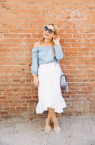 skirt midi skirt wrap skirt ruffle hem skirt off the shoulder top mules embellished mules blogger blogger style shoulder bag