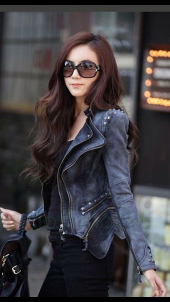 jacket studs jeans leather peplum