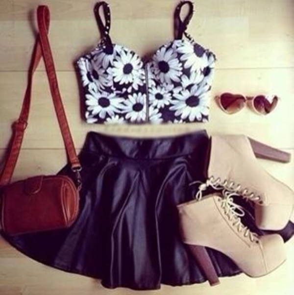 tank top skirt shoes bag sunglasses shirt crop tops floral purse top flowers leather skirt daisy crop tops
