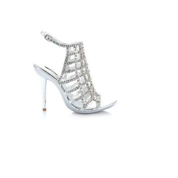 Shoehorne Ocean-16 Womens Caged Silver Sparkling Rhinestone/... - Polyvore