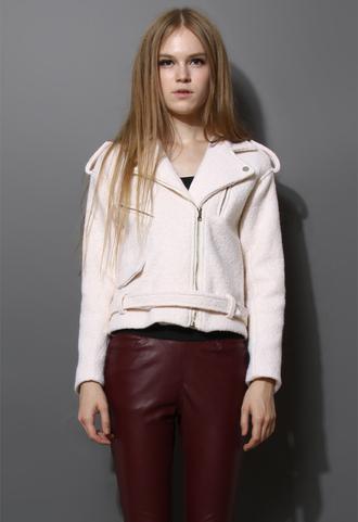 coat felt wool jacket cream motocycle