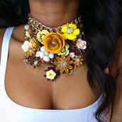 jewels,necklace,statement necklace,yellow