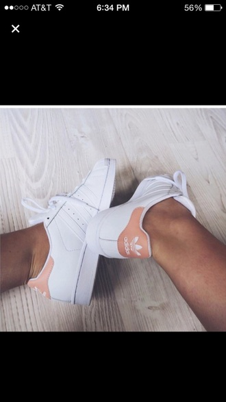 shoes stan smith peach pastel pink