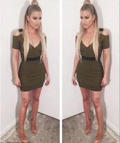 dress,bodycon dress,khloe kardashian,instagram,kardashians,plunge dress,mini dress,olive green,pumps,ponytail