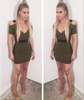 dress bodycon dress khloe kardashian instagram kardashians plunge dress mini dress olive green pumps ponytail