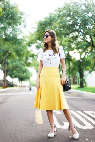 t-shirt blogger midi skirt wayfarer streetstyle white t-shirt yellow skirt flare skirt wedges white shoes quote on it