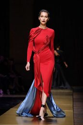 dress,red dress,red,long prom dress,gown,runway,model,bella hadid,versace,fashion week 2016