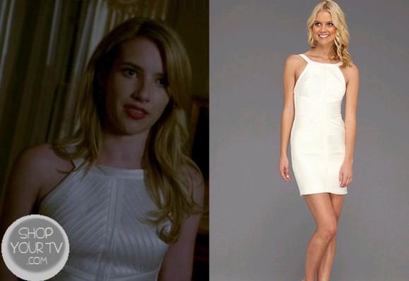 white dress cream dress bodycon dress emma roberts american horror story coven