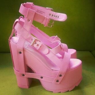 shoes zooshoo platform shoes pink style fashion edgy bold shoes heels pumps cute yru