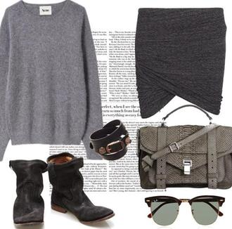 bag green army print snake rayban balenciaga acne studios sweater skirt boots biker boots tote bag handbag purse acessories grey sweater grey fashion style collage army green military style military boots bracelets sunglasses designer festival outfit clothes shoulder bag winter sweater summer outfits