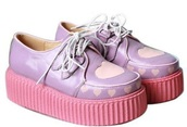 shoes,pastel,pastel pink,pink,purple,harajuku,cute,kawaii,cutesy,women,girl,girl shoes,creepers,platform shoes,heart,pink hearts