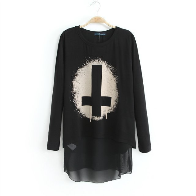 Wholesale Fashion individuality the cross round neck swallowtail tees BD-C1327 black - Lovely Fashion