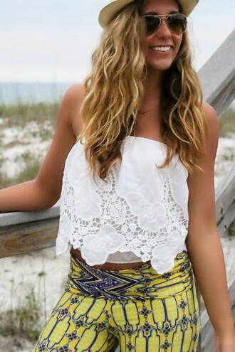 top amazinglace amazinglace.com white shirt cropped tube top embroidered