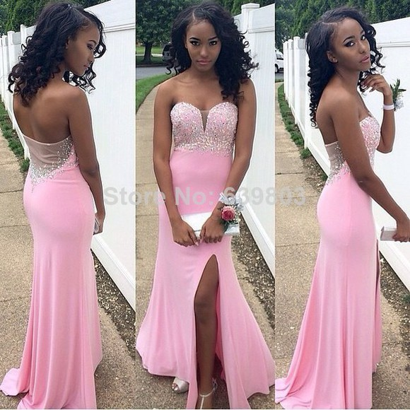 slit skirt sexy prom dresses 2014 prom dress evening gown side split maxi dress 2014 prom dresses