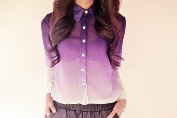 blouse dye see through purle purple girly fashion dressy casual fancy cute clothes blouse , nice , sogood