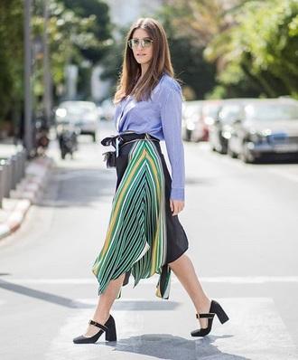 shirt blue shirt skirt midi skirt shoes black shoes sunglasses spring outfits streetstyle pleated skirt heels