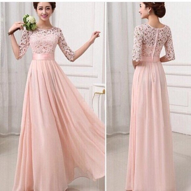 dress, peach dress, maxi dress, cute dress, flowy dress, ball gown ...