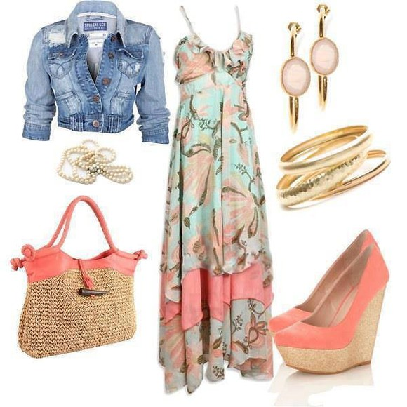 bag bangles summer shoes dress pink wedges denim jacket summer dress summer shoes jacket