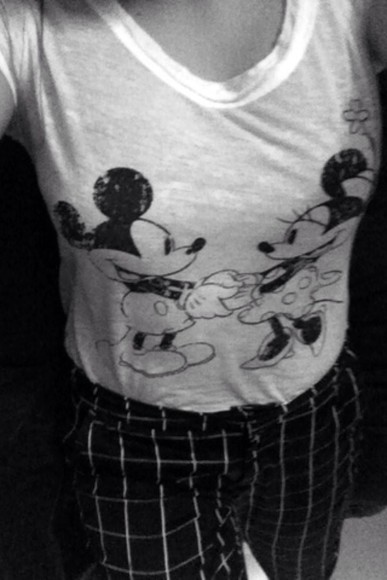 mickey mouse black t-shirt white minnie mouse white t-shirt mango