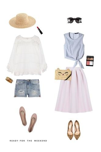 sequins and stripes blogger hat make-up top jewels shorts sunglasses skirt bag shoes