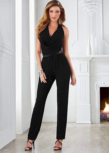 Black Belted halter jumpsuit, strappy heel from VENUS