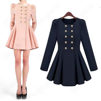 dress coat dress military style cute girly winter outfits fall outfits coat buttons flowy gold chic style light pink baby pink royal blue