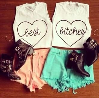 shirt bff infinity love more adorable high heels bff's shorts t-shirt best bitches black high heels
