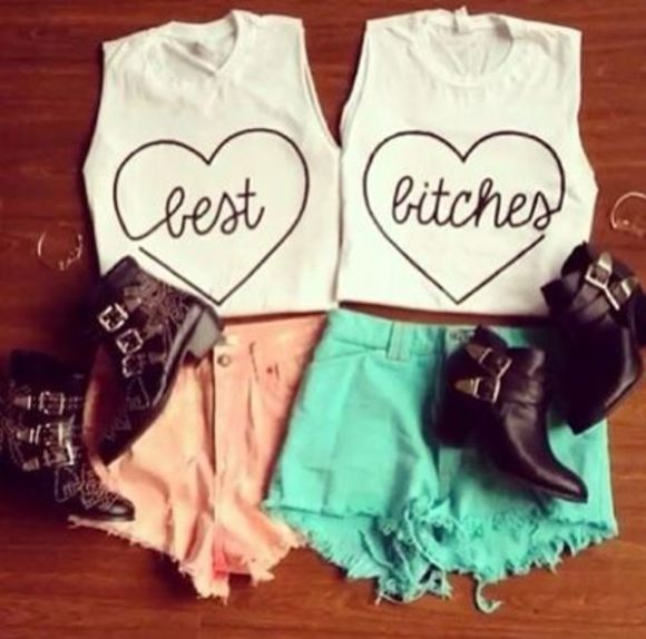 shirt best friends infinity love more adorable high heels bff's