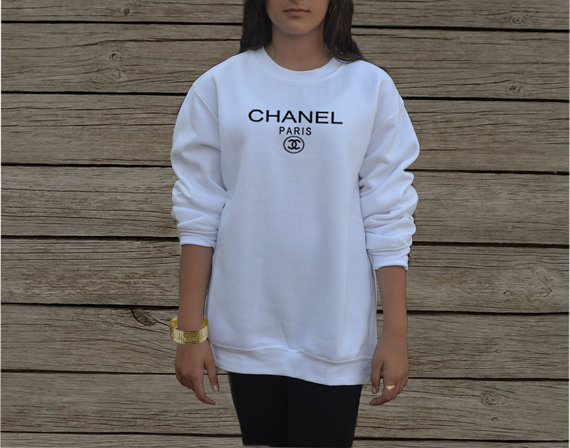 Coco Chanel Sweatshirt In White And Gray Replica Cc By