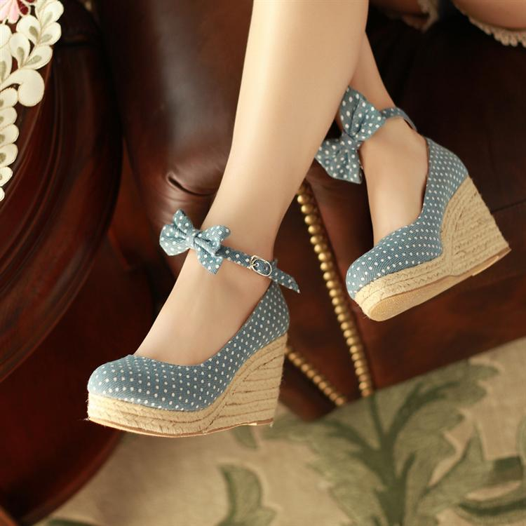2013 women's shoes sweet bow straw braid wedges platform shoes comfortable dot cloth female shoes
