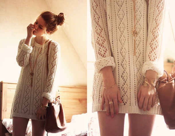 Dress: cream, long sleeve dress, knitted dress, sweater dress ...