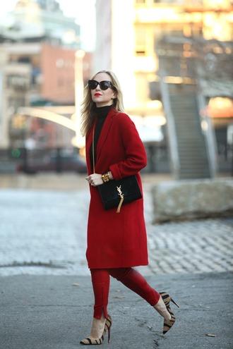 brooklyn blonde blogger red red coat animal print stilettos cat eye classy saint laurent skinny pants