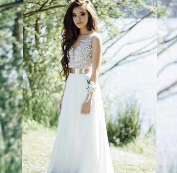 dress, white, elegant, prom dress, white dress, pretty, cute ...