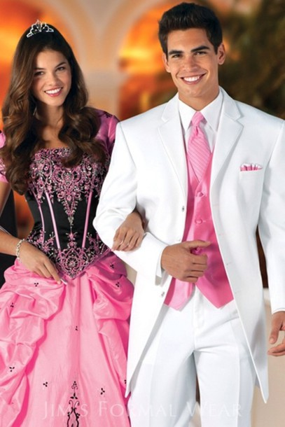 Similiar Pink And White Prom Suits Keywords