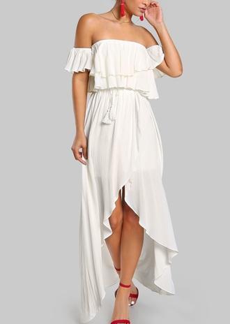 dress girly white white dress maxi dress off the shoulder off the shoulder dress