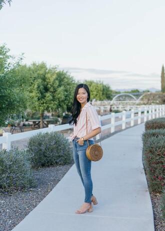 skirttherules blogger shorts jeans bag shoes jewels round bag shoulder bag sandals spring outfits