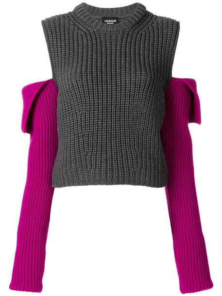 Calvin Klein 205W39nyc - open shoulder knit jumper - women - Wool - L, Grey, Wool