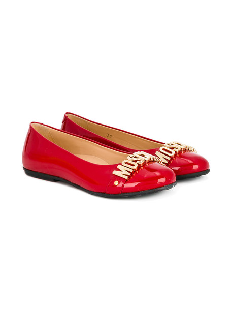 Moschino Kids leather red shoes