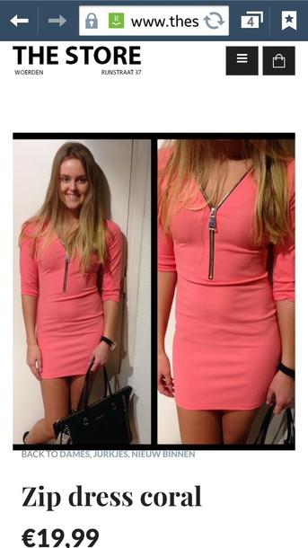 dress pink dress cute dress summer dress zipper shirt cute clothing