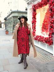 fashion foie gras,blogger,dress,hat,red dress,camel coat,winter outfits