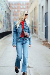the fashion guitar,blogger,jeans,jacket,top,shoes,sunglasses,bag,gucci princetown,cropped bootcut jeans,cropped bootcut blue jeans,frayed denim,frayed jeans,denim jacket,blue jacket,red top,chanel,chanel bag,gucci,gucci shoes,fall outfits