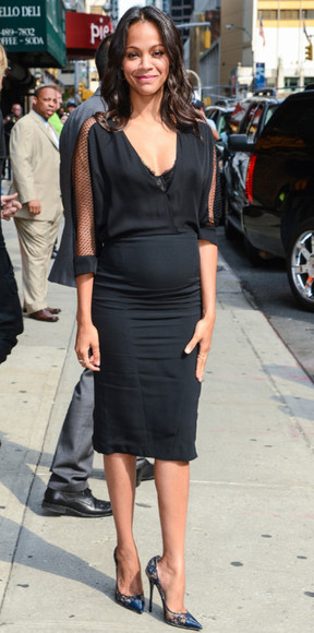 dress zoe saldana black dress,